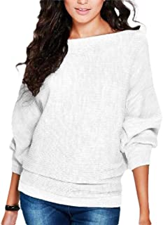Women Pullover Batwing Sleeve Loose Solid Color Knit Sweaters