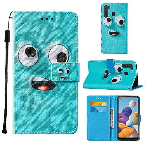 Miagon Lanyard Brieftasche Etui für Samsung Galaxy A21,Lustig Groß Auge Entwurf Pu Leder Magnetverschluss Weich Innere Buchstil Schutzhülle Klapphülle mit Standfunktion