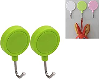 Lukzer (Set of 2) Multi-Purpose Round Magnetic Hooks for Hanging/Home Kitchen Office Hotel Desk Organizer Unique Keys Hang...