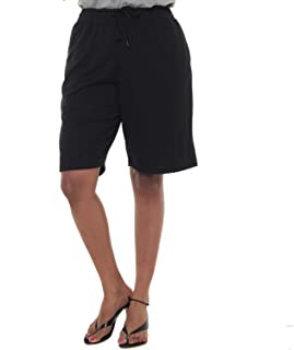 EASY 2 WEAR ® Womens Jersey Shorts (Size S to 4XL) Loose and Long Fit.Col : Black