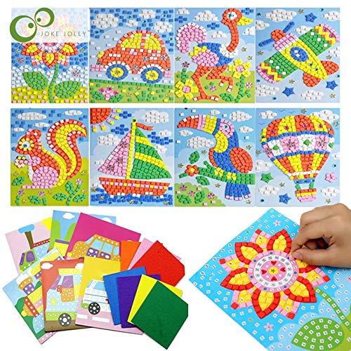 HUNSHA 6 unids/set 3D niños EVA pegajosos mosaicos rompecabezas DIY espuma pegatinas hecho a mano arte dibujos animados creativos juguetes educativos para niños