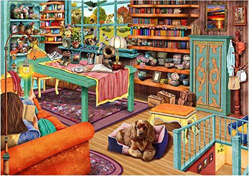 HUADADA Puzzle 1000 Teile,Puzzle für Erwachsene,Impossible Puzzle, Geschicklichkeitsspiel für die ganze Familie - Cosy Retreat Windowsill Cat - Erwachsenenpuzzle ab 8 Jahren.