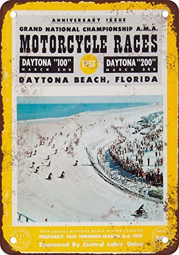 UUND 1957 Daytona Beach Motorcycle Races Vintage Look Reproduction Metal Tin Sign 8X12 Inches