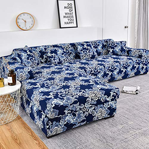 SHENSHI Funda De Sofá,Funda De Sofá Estampada Sillón Loveseat Sofá Grande En Forma De L Funda De Sofá De Esquina Sofá Seccional Lavable Decoración De Sofá A Prueba De Fugas, Azul, 3, Seate