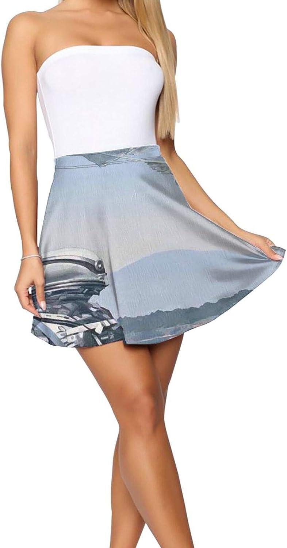 RHRFOL Floating Island Women's Basic Versatile Stretchy Flared Casual Mini Skater Skirt