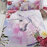 Sparkle And Shine éclat et Brillance Licorne Housse de Couette et taie d'oreiller de lit, Coton Polyester, Multicolore, Unique