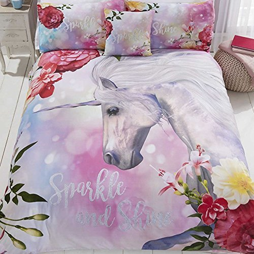 Sparkle And Shine Unicorn Duvet Cover and 2 Pillowcase Bed Set, Polyester-Cotton, Multi-Colour, King