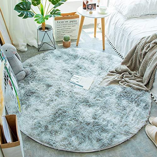 JINGMIAO Tappeto morbido rotondo per soggiorno, decorazione in pelliccia sintetica, per camera da letto, Shaggy Area Rug