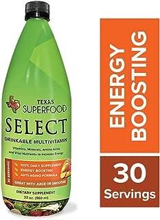 Texas SuperFood - Select Liquid, Drinkable Multivitamin, Vitamins, Minerals, Amino Acids & Vital Nutrients to Increase Energy, Liquid Multivitamin for Women and Men, 32 oz, 30 Servings