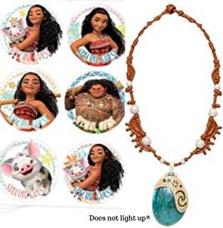 Moana Necklace with Bonus Moana Party Stickers | Light Up Heart of Te Fiti | Disney Costume Kid's Dress Up | Perfect for Halloween Costume Accessory or just for Play | Moana Accessories