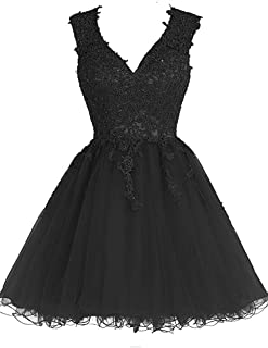 Homecoming Dress Short Cocktail Dress Lace Homecoming Dresses Tulle Appliques Prom Dress V Neck