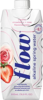 Flow Alkaline Spring Water, Organic Strawberry + Rose, 100% Natural Alkaline Water pH 8.1, Electrolytes + Essential Minerals, Eco-Friendly Pack, 100% Recyclable, BPA-Free, Non-GMO, Pack of 12 x 500ml