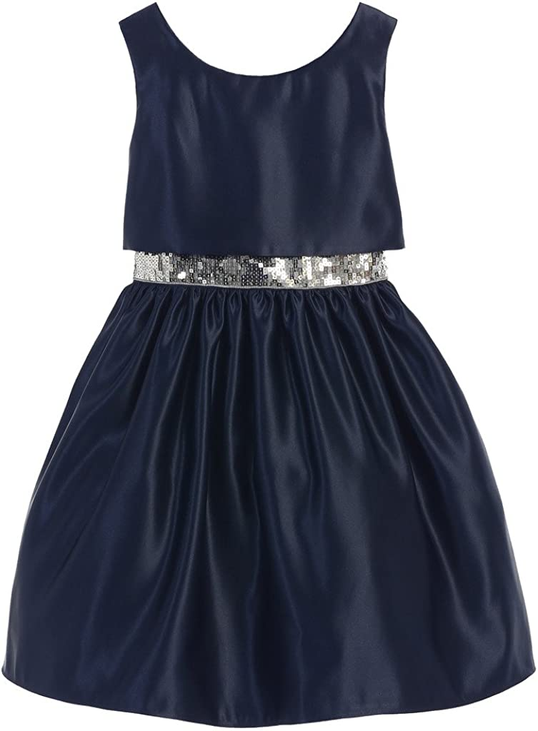 Sweet Kids Satin with Sequined Waistband Big Girls' Special Occasion Dress (6-16Y)