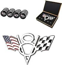 Dsycar 3D Metal V8 Engine Displacement Logo US Racing Flag Car Emblem Badge Sticker Decals for Car Styling Decorative Accessories - Gift 4 Free V8 Logo Valve Stem Caps