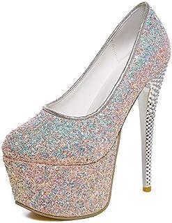 Sequins Platform High Heels For Banquet Wedding Dress Daily (Color : Pink, Size : 40)