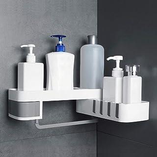 Galapara 浴室用ラック 1ピースコーナーシャワー 棚浴室シャンプーシャワー棚 ホルダー キッチン収納ラックオーガナイザー壁掛け 直角のフラットアングル 180度回転可能