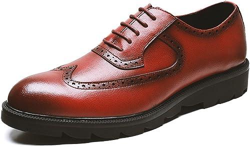 ZPFME Herren Schnürschuhe Derby Leder Formelle Brogues Klassisches Rotes Kleid Schuhe Schuhe Für Herren Business Schuhe