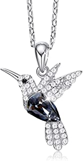 CDE Hummingbird Necklaces S925 Sterling Silver Necklaces for Women Embellished with Crystals from Swarovski Jewelry for Women, Animal Necklace Gifts for Girlfriend and Mom Black