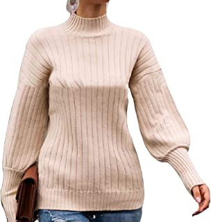 Womens Casual Turtleneck Long Lantern Sleeve Pullover Loose Sweater Tops