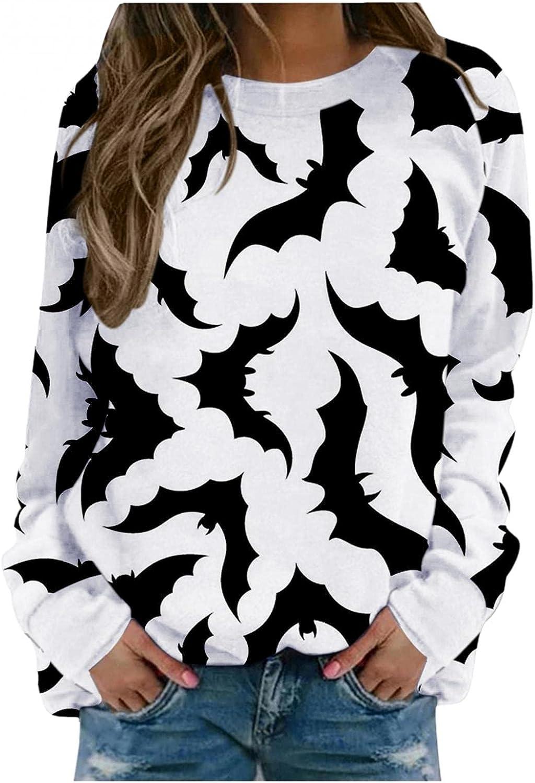 BAGELISE Halloween Sweatshirts for Womens, Womens Long Sleeve Bat Print Sweatshirts Casual Pullover Tops Blouse Shirts