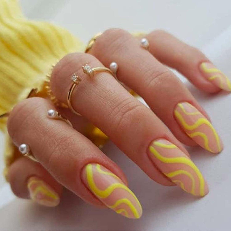 Kamize Swirl Press on Nails Very popular! Tips Fake Acryli Sale item Medium Almond