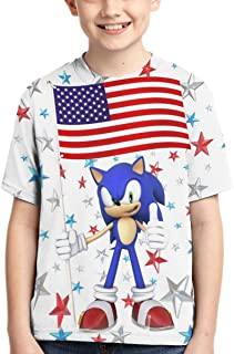 Kids Sonic The Hedgehog T-Shirts 3D Printed Crew Neck Short Sleeve Tee Shirt for Boys and Girls Fashion Tops