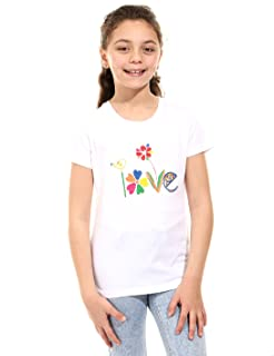 Andora Love Embroidered Letters Short Sleeves Round Neck T-shirt for Girls
