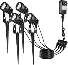 Landscape Lighting, Greenclick 12V LED Landscape Lights Pathway Lights Low Voltage Waterproof Outdoor Spotlights with Plug, Warm White Garden Lights for Driveway Yard Lawn Patio (4 Pack)