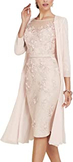 Newdeve Lace Mother of The Bride Dresses Tea Length Sheath 3/4 Sleeves with Chiffon Jacket