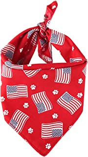 TinaWood Washable Dog Bandanas Bibs American Flag Square Dog Kerchief Independence Day Dog Collar Cat Pets Collar (Red)