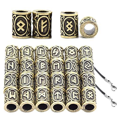 Osuter 24PCS Bartperlen Wikinger Runen, Rune Perlen Bronze mit 2PCS Halskette Schnur Schwarz Leder für Schmucksachen DIY Handwerk Zubehör Haar Anhänger