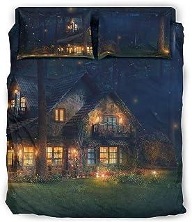 Juego de ropa de cama, 4 piezas, diseño de bosque y paisaje nocturno, ultrasuave, funda de edredón y fundas de almohada, decoración blanca, 240 x 264 cm