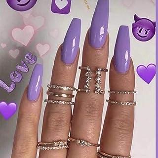 YERTTER 24pcs Glossy False Nails Plain Color Full Cover Acrylic Fake Nails Medium Coffin Nail Tips for Women Ladies and Gi...