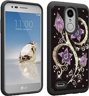 LG Aristo/LG Aristo 2 /LG Rebel 3 LTE/LG K8 Plus/Phoenix 3/K8 2018 Case, Folice Luxury Glitter Sparkle Bling Studded Rhinestone Bling Crystal, PC+TPU Dual Layer Silicone Phone Case (Peacock Flower)