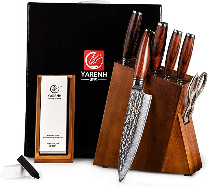 Set coltelli con ceppo colossal 8 pezzi con blocco in legno di acacia yarenh B07ZMKC5S9
