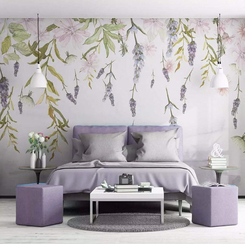Yssyss 3D Hoja verde Flor Acuarela Foto Wallpaper Salón Tv Sofá Dormitorio Decoración Del Hogar Mural-200(H)140(W) Cm