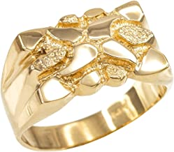 High Polish 10k Yellow Gold Textured Nugget Ring for Men