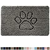 Gorilla Grip Original Indoor Durable Chenille Doormat, 30x20, Absorbent, Machine Washable Inside Mats, Low-Profile Rug Doormats for Entry, Mud Room, Back Door, High Traffic Areas, Paw Gray