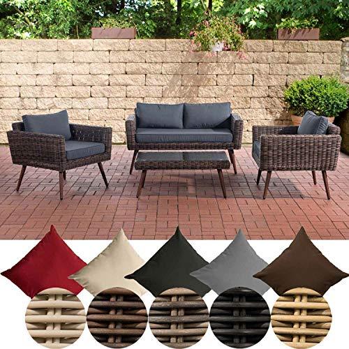 CLP Kiruna Polyrattan Lounge Set I Brown Mottled I Garden Lounge Round Rattan I Sofa & 2 x Armchairs & Glass Table I 5 mm Rattan Thickness