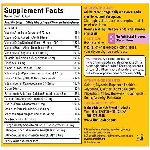 Nature Made Prenatal Vitamin + DHA Sofgtel with Folic Acid, Iodine and Zinc, 90 Count (Packaging May Vary)