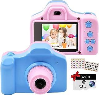 كاميرات الأطفال الرقمية، كاميرا لعبة قابلة للشحن، كاميرا فيديو مع شاشة 2 بوصة IPS وبطاقة SD 32 جيجابايت، مصغرة كاميرا الفي...