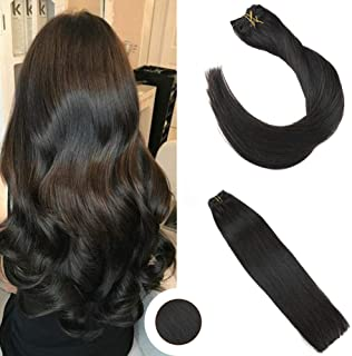 Ugeat 12 Inch Hair Extension Clip in 7PCS Remy Human Hair Clip Extension #1B Off Black Color 120g Real Human Hair Clip in Extensions for Woman