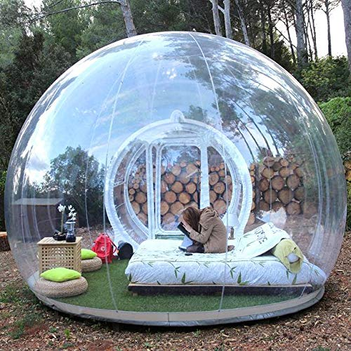 Inflatable Bubble Camping Tent 10ft Commercial Grade Outdoor Clear Dome Camping Cabin Bubble Tent with Blower for DIY Outdoor Backyard Camping (10ft...