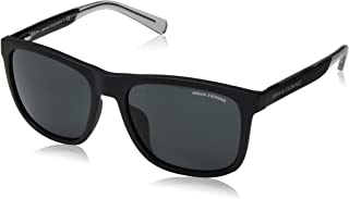 Men's AX4049SF Square Asian Fit Sunglasses, Matte Black/Grey, 57 mm