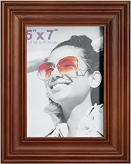 RPJC 5x7 Picture Frame Made of Solid Wood High Definition Glass for Table Top Display and Wall Mounting Photo Frame Brown