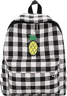 Van Caro Women Girls Checkerboard Backpack Canvas Schoolbag Travel Rucksack