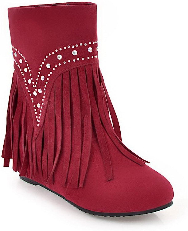 BalaMasa Womens Retro Fringed Crystals No-Closure Urethane Boots ABL10658