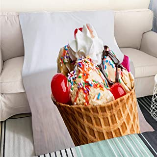 BEICICI Art Design Photos Cool Quilt Fancy Ice Cream Sundae with Hot Fudge Sprinkles Cherries Living Room/Bedroom Warm Blanket