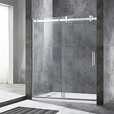 """WOODBRIDGE MBSDF6076-B Frameless Sliding Shower, 56""""-60"""" Width, 76"""" Height, 5/16"""" inch Clear Tempered Glass, Brushed Nickel Finish, Designed for Smooth Door Closing and Opening. MSDF6076-B"""
