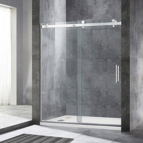 WOODBRIDGE MBSDF6076-B Frameless Sliding Shower, 56'-60' Width, 76' Height, 5/16' inch Clear Tempered Glass, Brushed Nickel Finish, Designed for Smooth Door Closing and Opening. MSDF6076-B